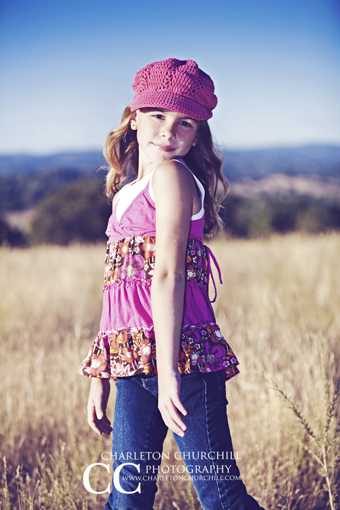 girl in Field with cute outfit photograph