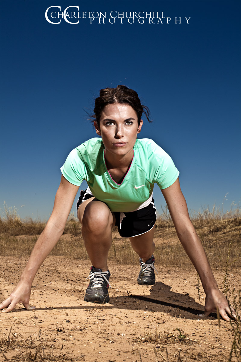 athlete model with a serious look on her face