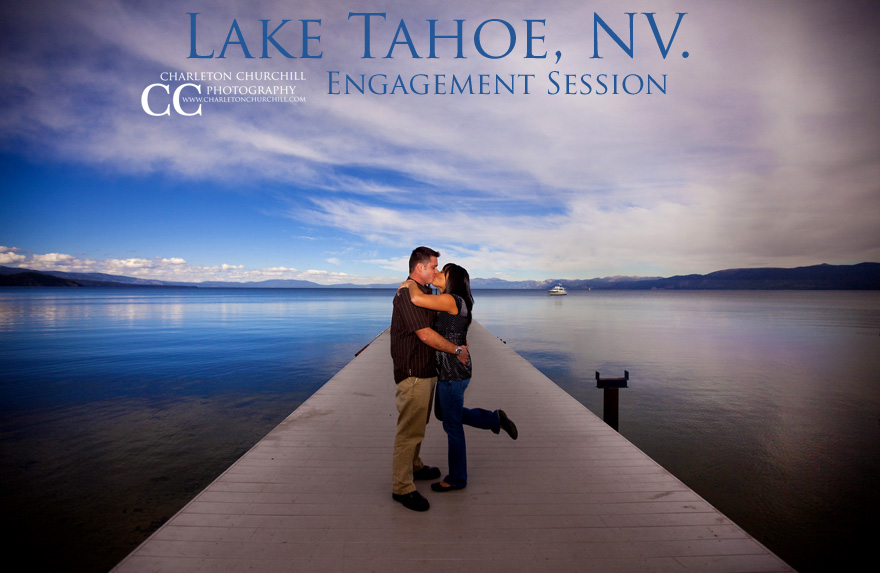 South Lake Tahoe Engagement Session with a beautiful couple on the dock with blue skies