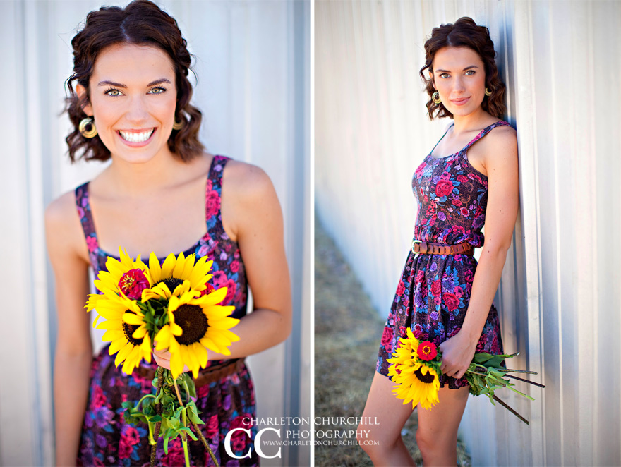 woman model with daisies