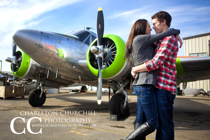 stockton metro airport engagement photography with a San Jose wedding couple