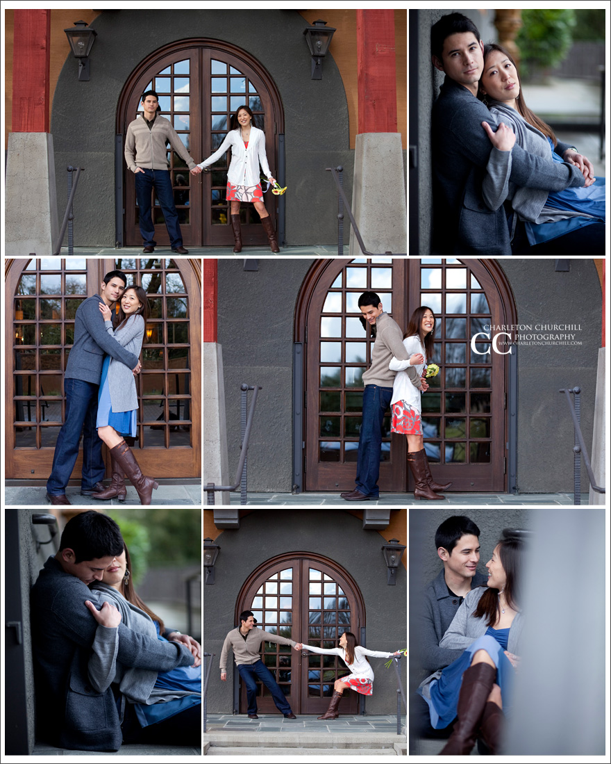 Napa engagement session photography in in a classy vineyard for pictures