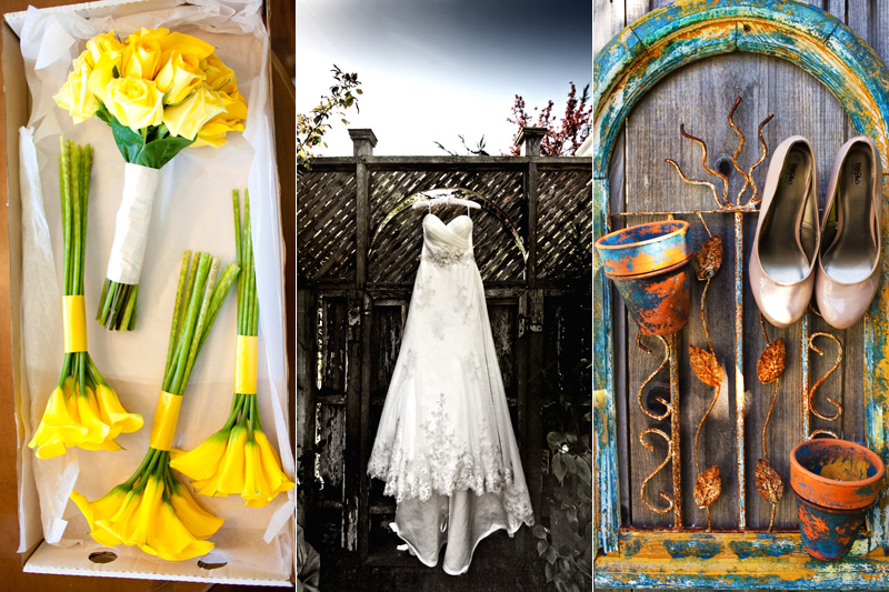 wedding details with dress and shoes of wedding day