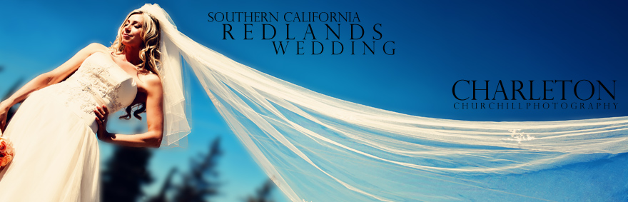 photograph of bride with vail in the wind under blue sky near Redlands after a wedding by Charleton Churchill Photography