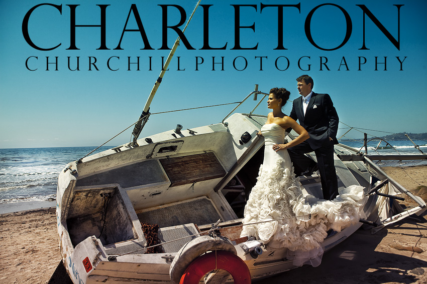 Santa Barbara Wedding photographer captures Bride and groom on abandoned boat off the shore during their wedding event