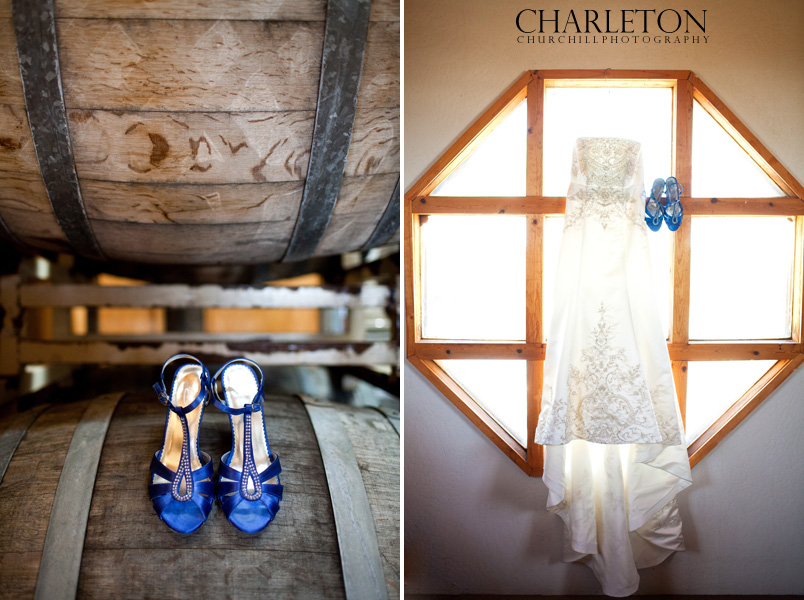 wedding shoes and dress on wine barrels at Sierra Ridge Vineyards and Winery