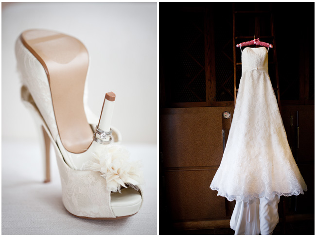 shoes and dress of wedding Napa Valley Wedding