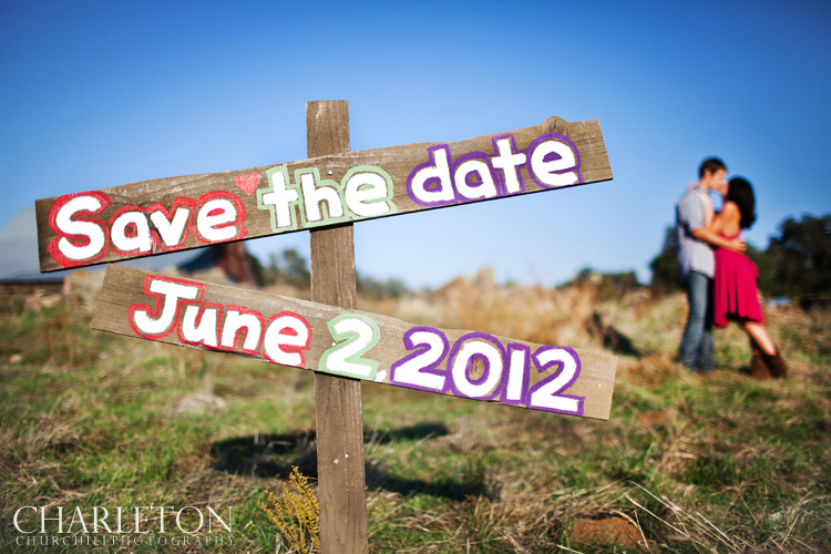 save the date sign for engagement session