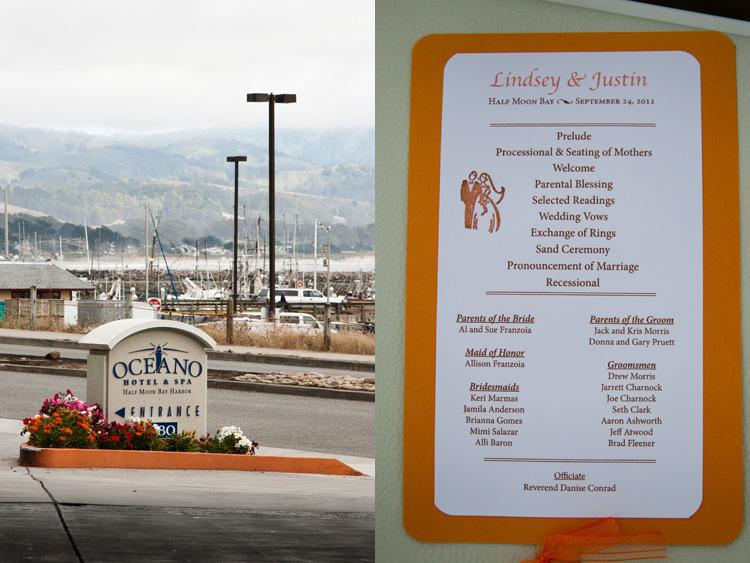 Oceano Hotel sign at half moon bay wedding