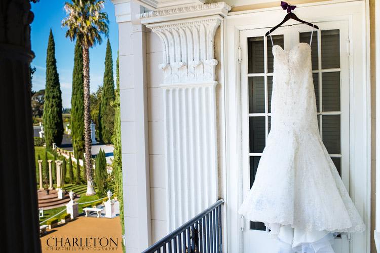 wedding dress and palm trees walnut grove photographer