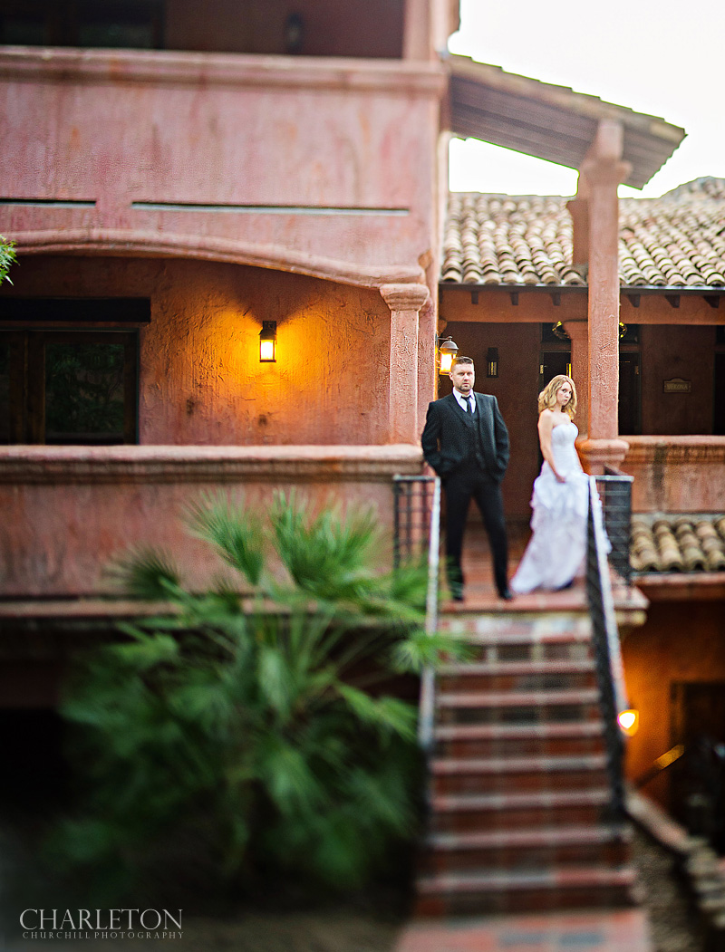 Italian tuscany styled wedding couple on front with creative photography