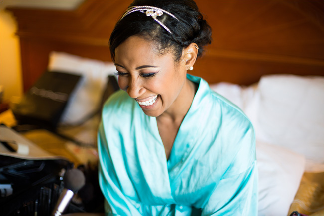 beautiful smile of the bride in her robe