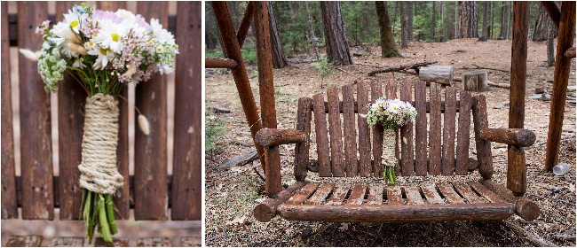 rustic bridal bouquet on bench