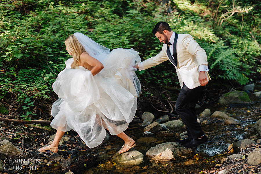 hiking in a wedding dress