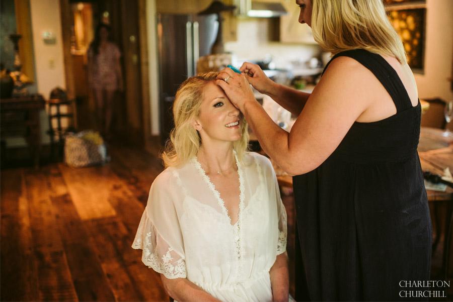 hair makeup at cabin anderson ranch